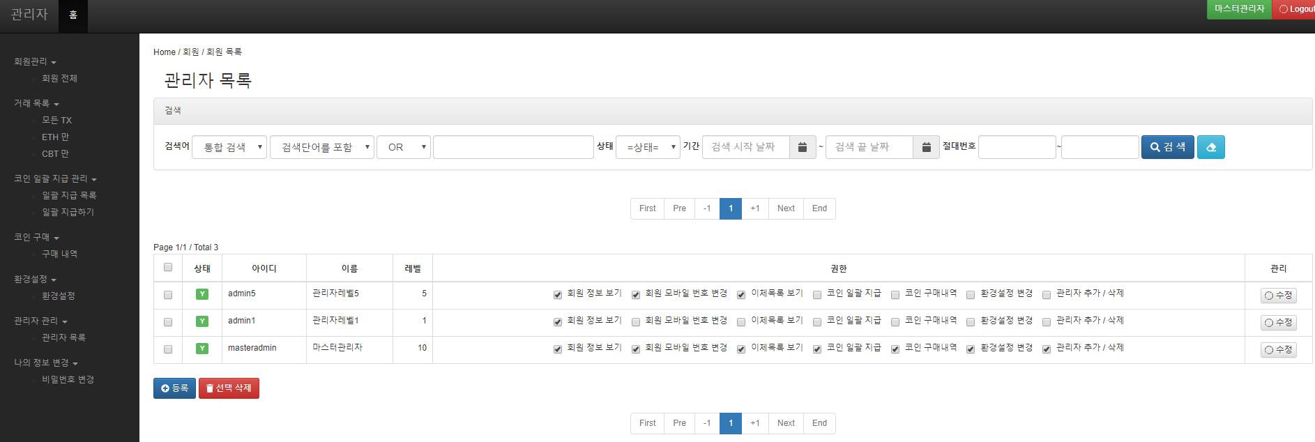 통합 웹 지갑 관리자 화면 - 관리자 관리